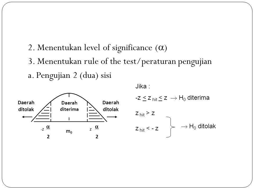 2. Menentukan level of significance ()