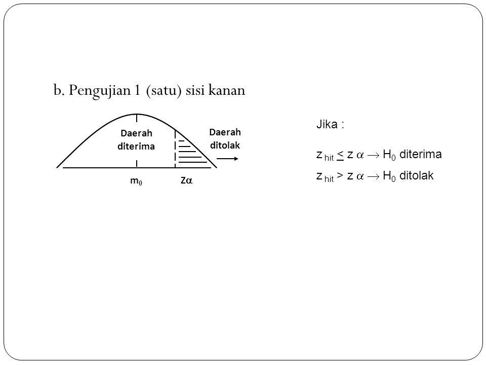 b. Pengujian 1 (satu) sisi kanan