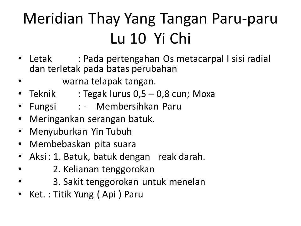 Meridian Thay Yang Tangan Paru-paru Lu 10 Yi Chi