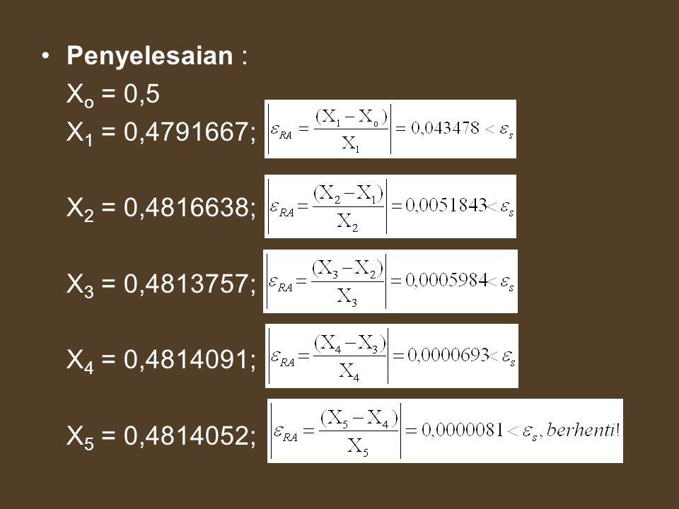 Penyelesaian : Xo = 0,5.