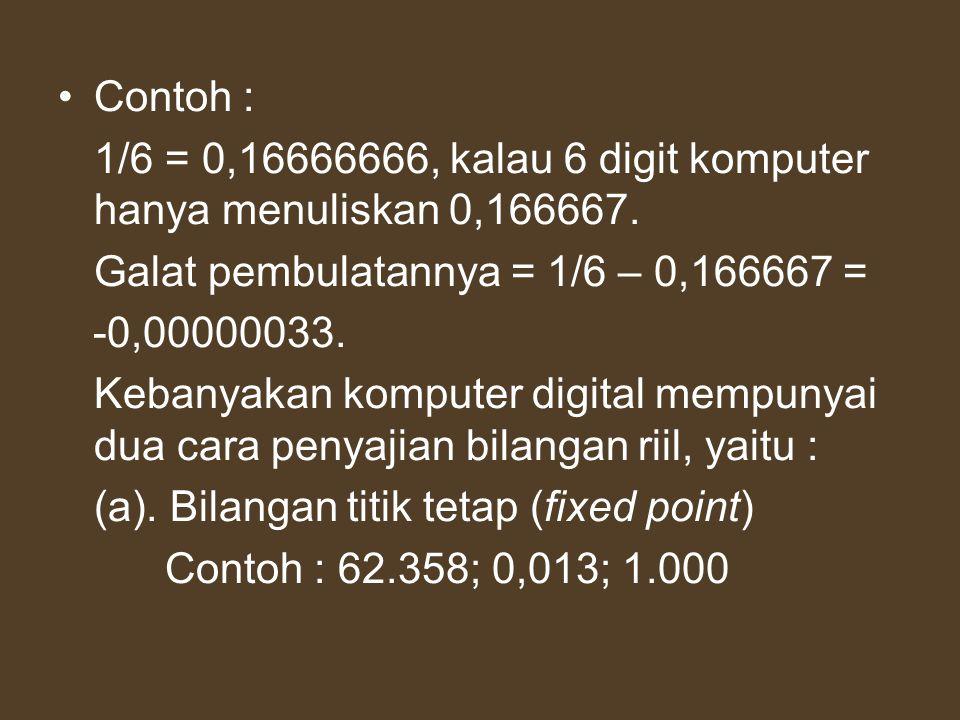 Contoh : 1/6 = 0,16666666, kalau 6 digit komputer hanya menuliskan 0,166667. Galat pembulatannya = 1/6 – 0,166667 =