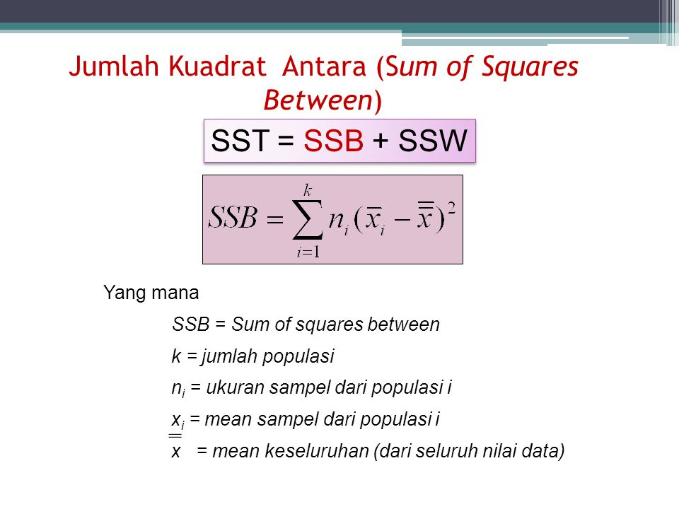 Jumlah Kuadrat Antara (Sum of Squares Between)