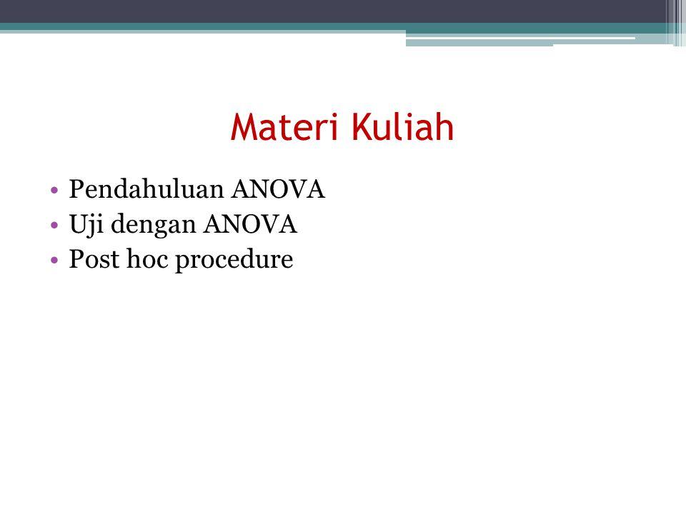 Materi Kuliah Pendahuluan ANOVA Uji dengan ANOVA Post hoc procedure