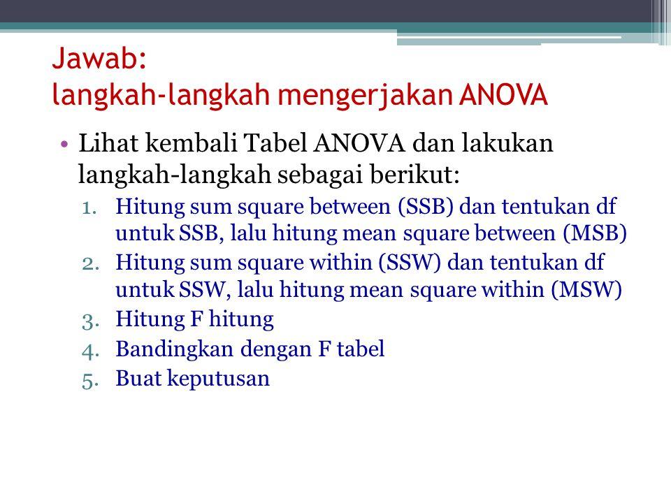 Jawab: langkah-langkah mengerjakan ANOVA