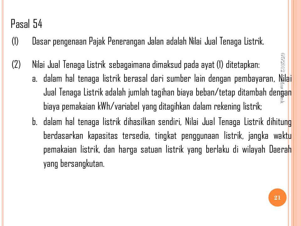 Pasal 54 (1) Dasar pengenaan Pajak Penerangan Jalan adalah Nilai Jual Tenaga Listrik. (2)