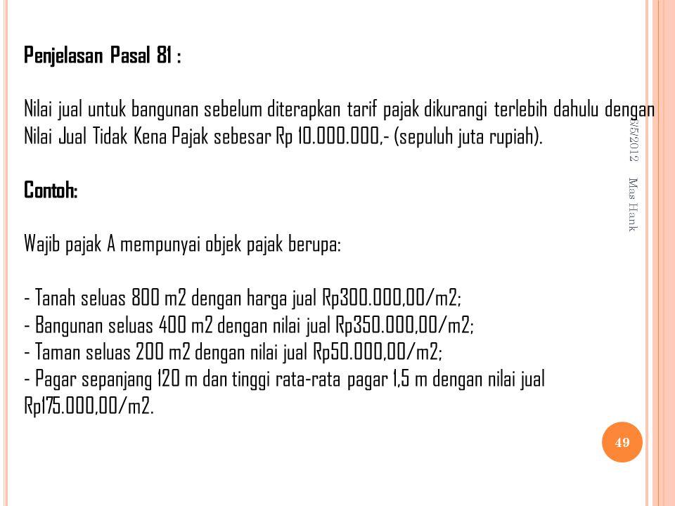 Wajib pajak A mempunyai objek pajak berupa: