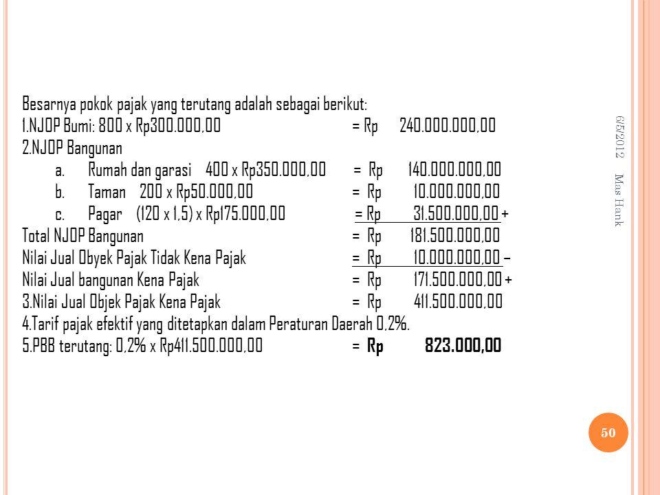 Besarnya pokok pajak yang terutang adalah sebagai berikut:
