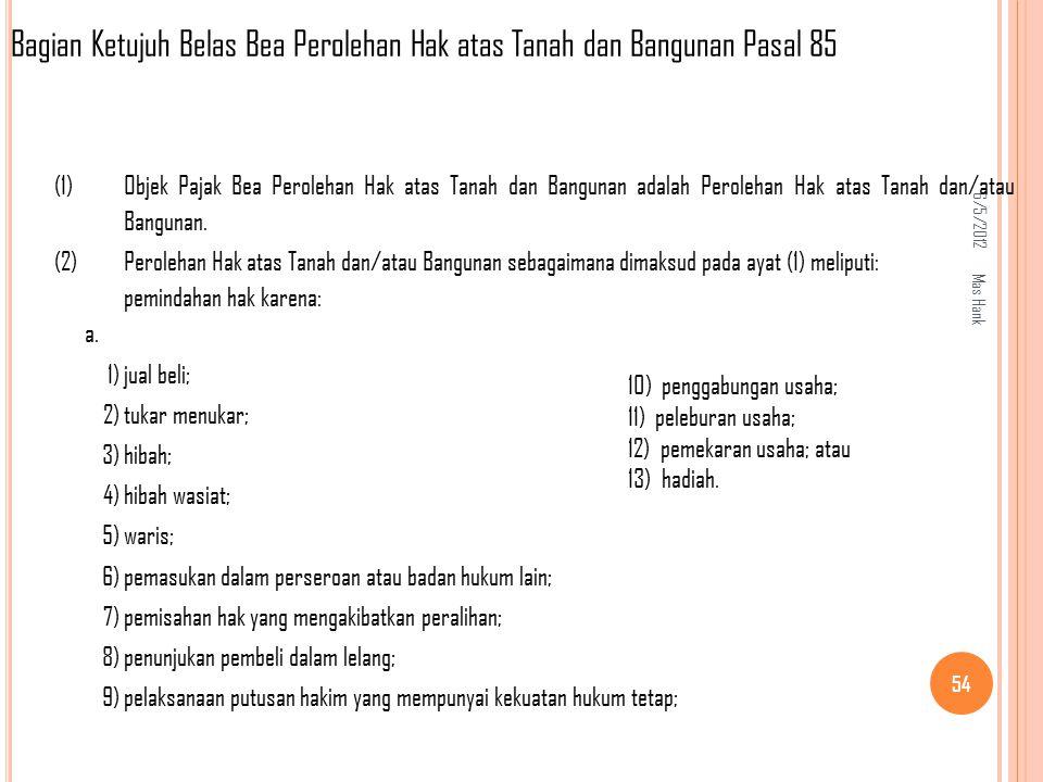 Bagian Ketujuh Belas Bea Perolehan Hak atas Tanah dan Bangunan Pasal 85