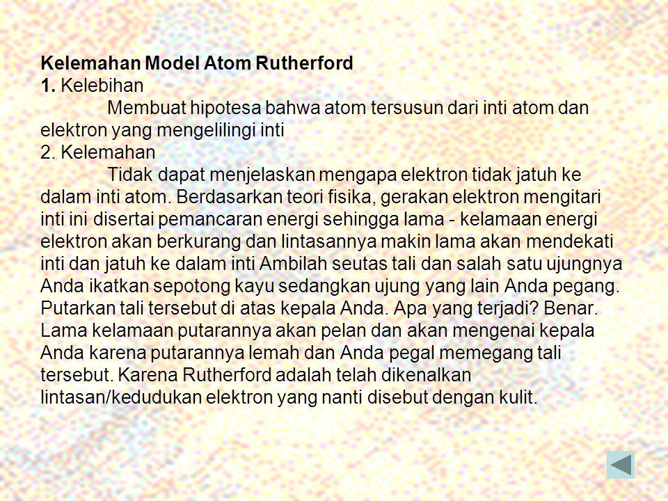 Kelemahan Model Atom Rutherford 1. Kelebihan