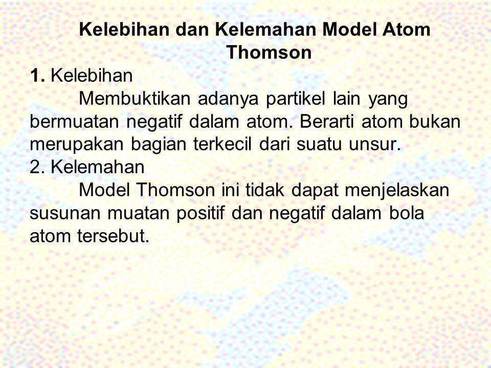 Kelebihan dan Kelemahan Model Atom. Thomson 1. Kelebihan