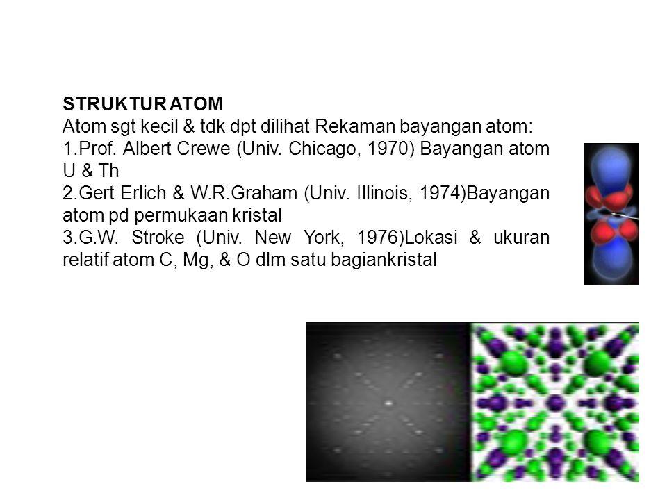 STRUKTUR ATOM Atom sgt kecil & tdk dpt dilihat Rekaman bayangan atom: 1.Prof. Albert Crewe (Univ. Chicago, 1970) Bayangan atom U & Th.