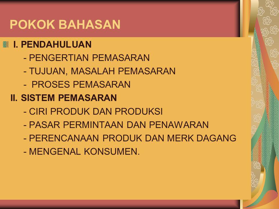 POKOK BAHASAN I. PENDAHULUAN - PENGERTIAN PEMASARAN