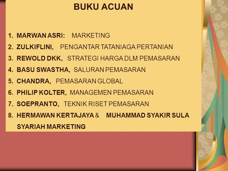 BUKU ACUAN MARWAN ASRI: MARKETING