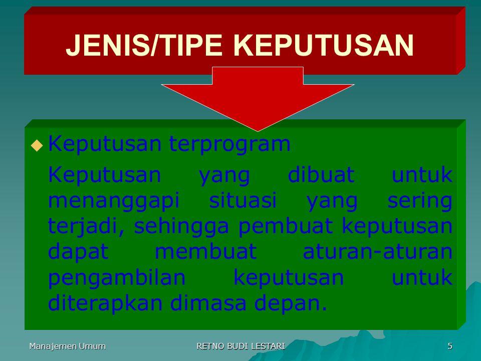 JENIS/TIPE KEPUTUSAN Keputusan terprogram