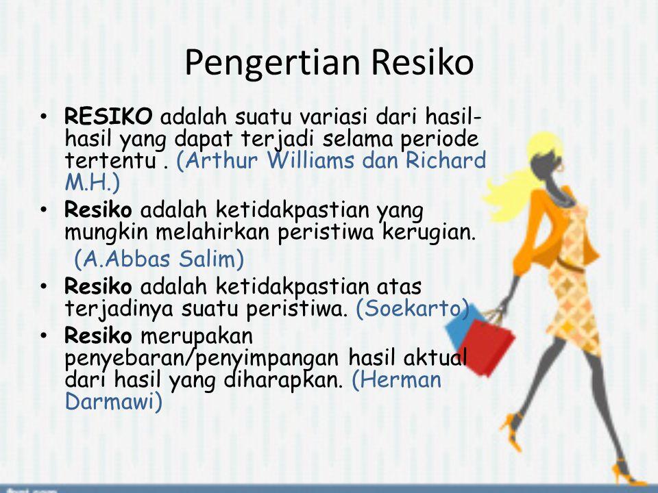 Pengertian Resiko RESIKO adalah suatu variasi dari hasil-hasil yang dapat terjadi selama periode tertentu . (Arthur Williams dan Richard M.H.)