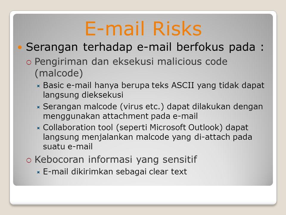 E-mail Risks Serangan terhadap e-mail berfokus pada :