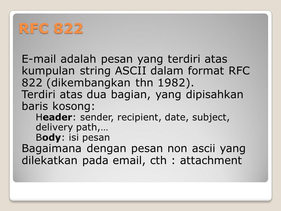 RFC 822 E-mail adalah pesan yang terdiri atas kumpulan string ASCII dalam format RFC 822 (dikembangkan thn 1982).