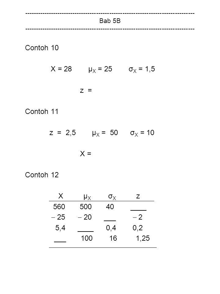 Contoh 10 X = 28 µX = 25 σX = 1,5 z = Contoh 11