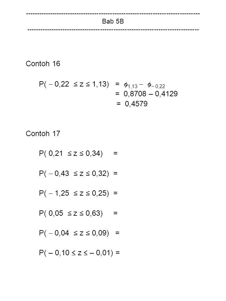 Contoh 16 P(  0,22 ≤ z ≤ 1,13) = 1,13   0,22 = 0,8708 – 0,4129