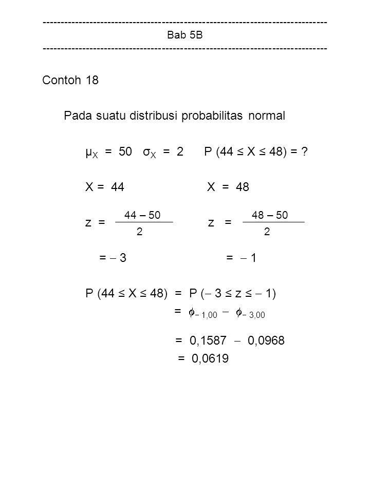Pada suatu distribusi probabilitas normal