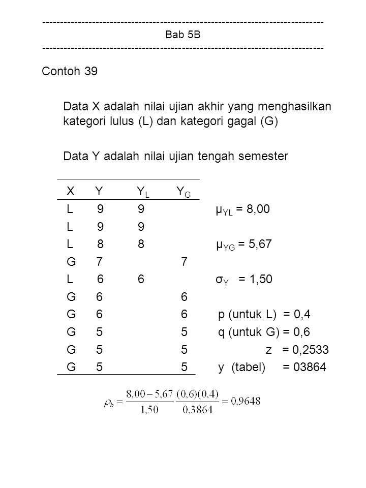 Data Y adalah nilai ujian tengah semester X Y YL YG L 9 9 µYL = 8,00