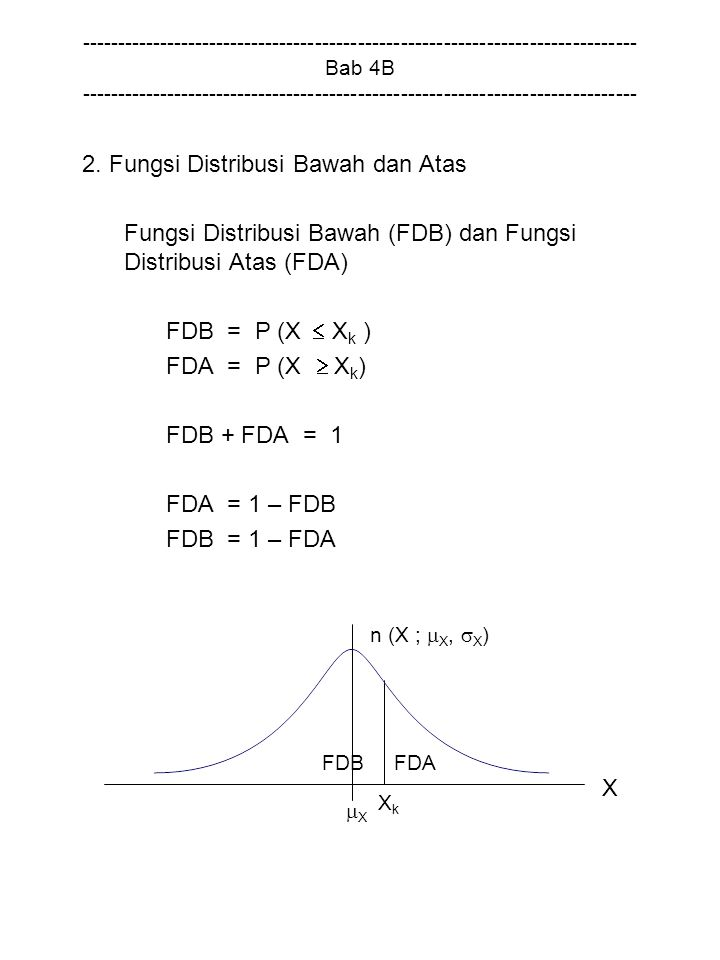 Fungsi Distribusi Bawah (FDB) dan Fungsi Distribusi Atas (FDA)