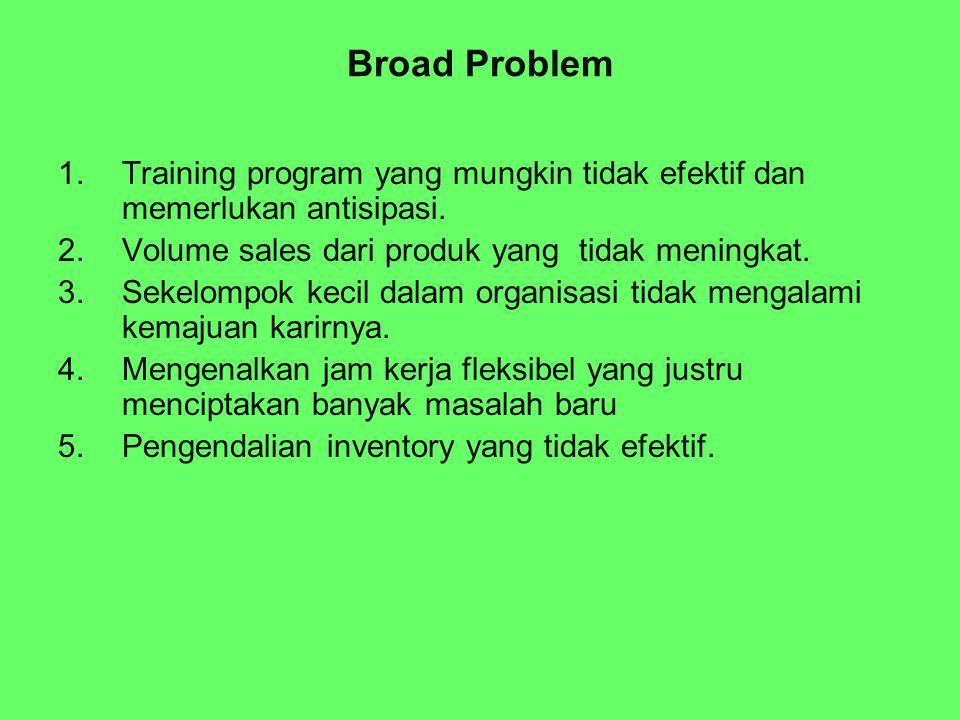 Broad Problem Training program yang mungkin tidak efektif dan memerlukan antisipasi. Volume sales dari produk yang tidak meningkat.