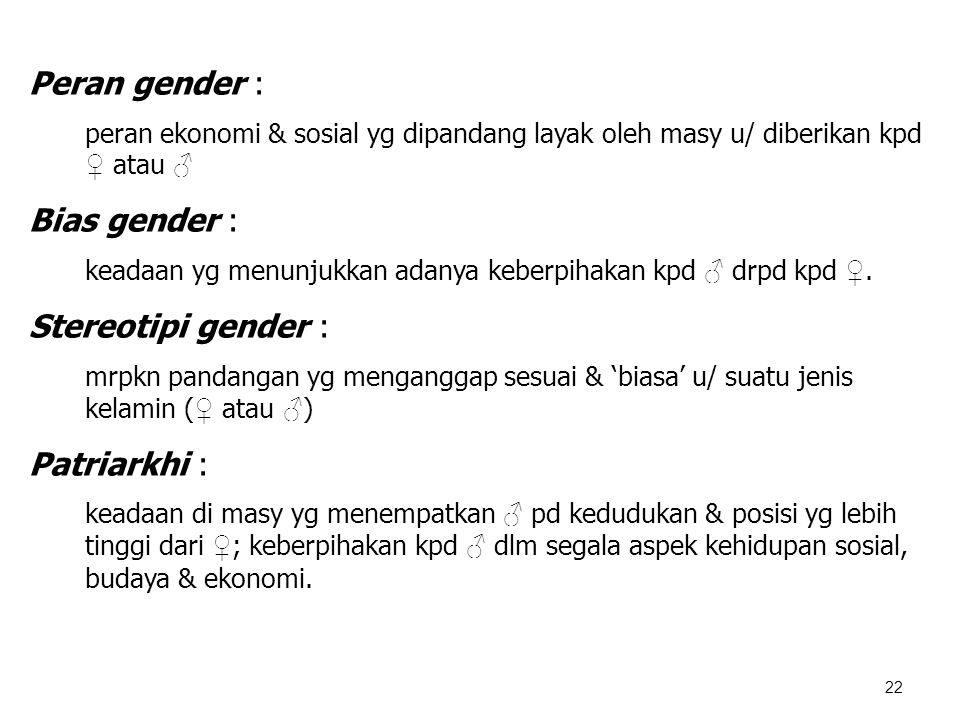 Peran gender : Bias gender : Stereotipi gender : Patriarkhi :
