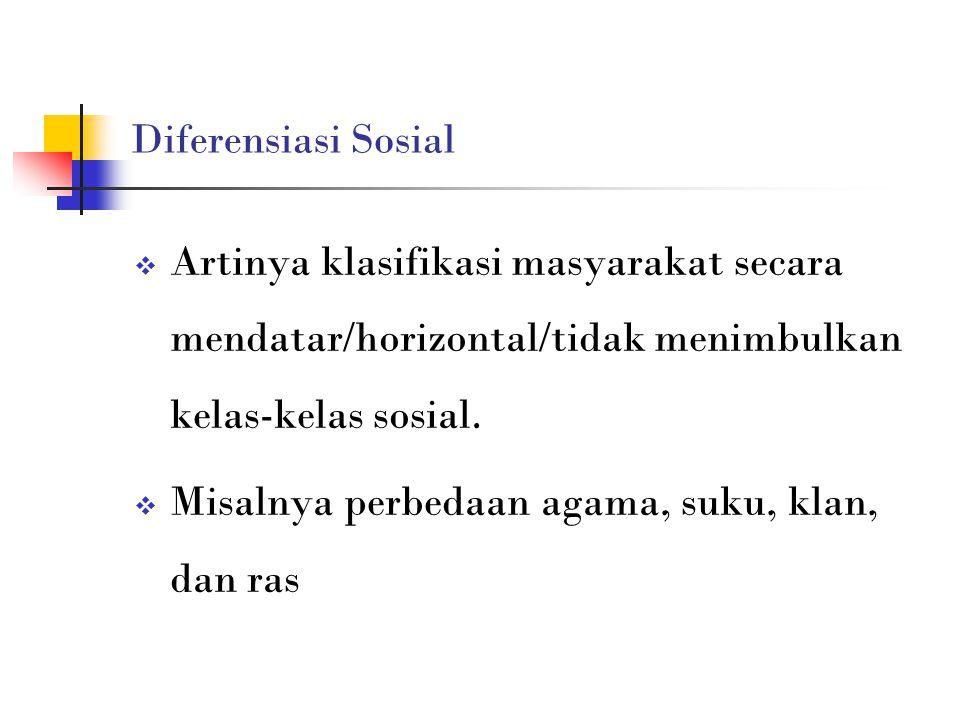 Diferensiasi Sosial Artinya klasifikasi masyarakat secara mendatar/horizontal/tidak menimbulkan kelas-kelas sosial.
