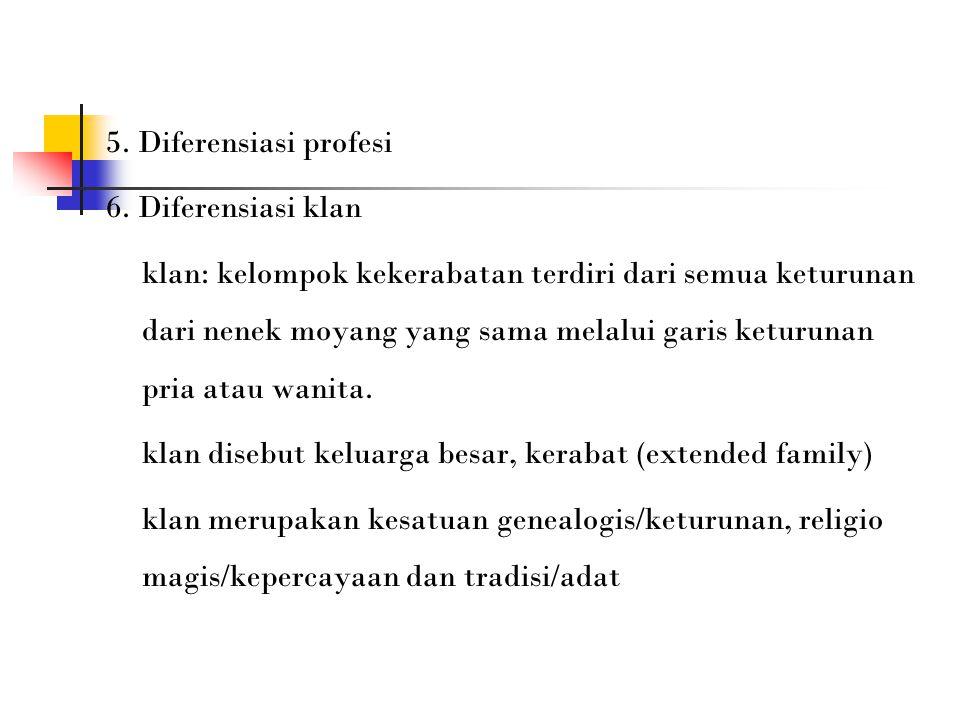 5. Diferensiasi profesi 6.