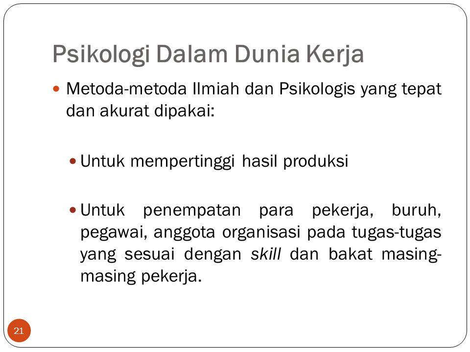 Psikologi Dalam Dunia Kerja