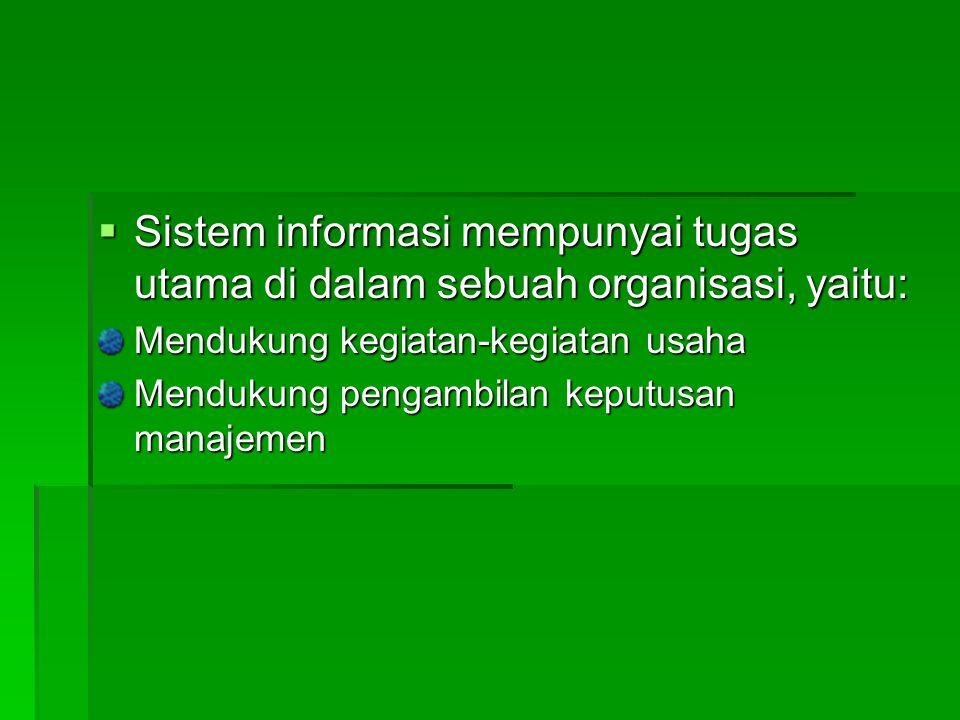Sistem informasi mempunyai tugas utama di dalam sebuah organisasi, yaitu: