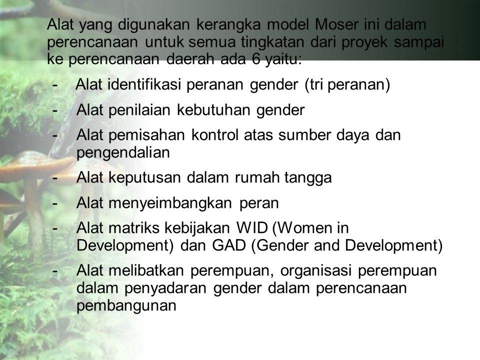 Alat yang digunakan kerangka model Moser ini dalam perencanaan untuk semua tingkatan dari proyek sampai ke perencanaan daerah ada 6 yaitu: