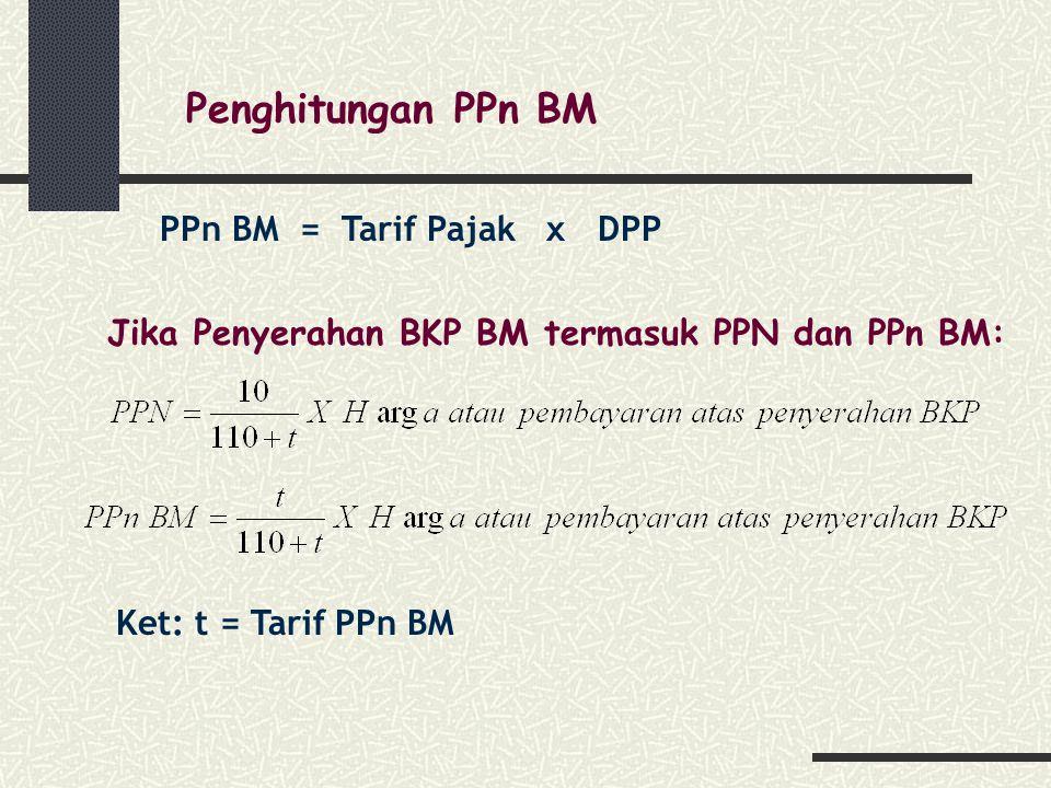Penghitungan PPn BM PPn BM = Tarif Pajak x DPP