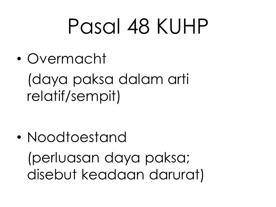 Pasal 48 KUHP Overmacht (daya paksa dalam arti relatif/sempit)