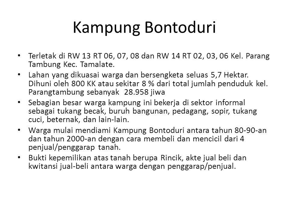 Kampung Bontoduri Terletak di RW 13 RT 06, 07, 08 dan RW 14 RT 02, 03, 06 Kel. Parang Tambung Kec. Tamalate.