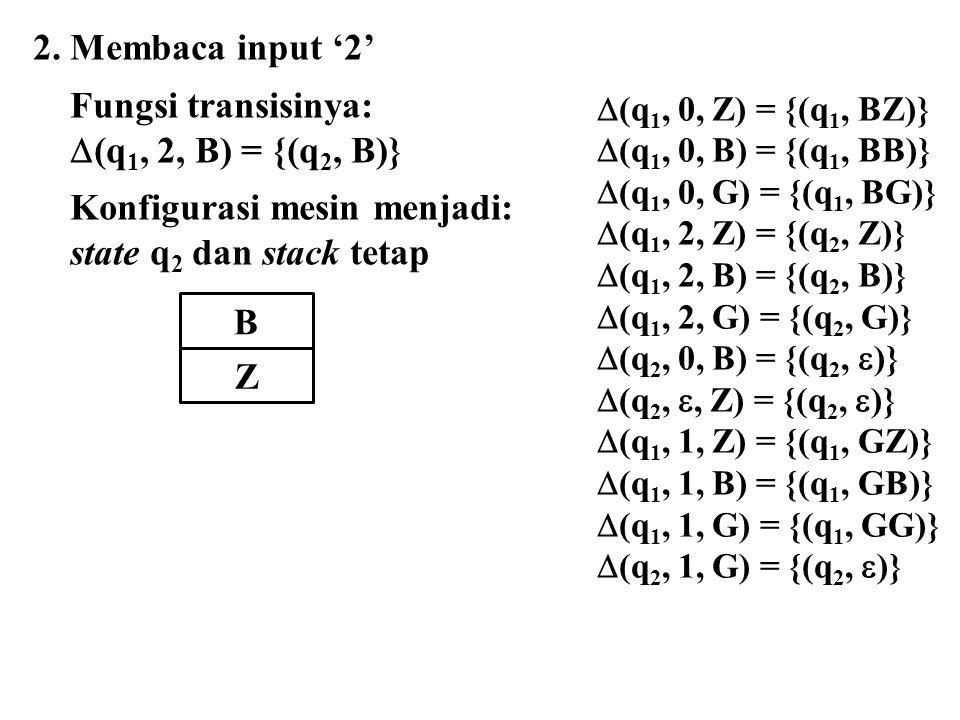 Konfigurasi mesin menjadi: state q2 dan stack tetap