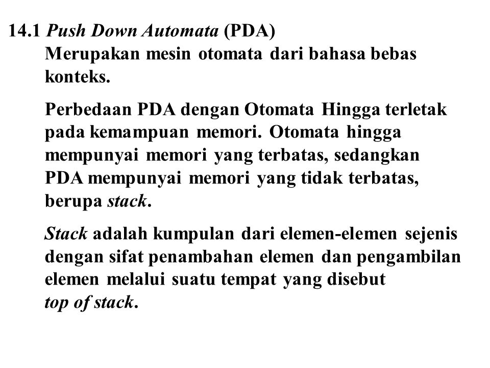 14.1 Push Down Automata (PDA)