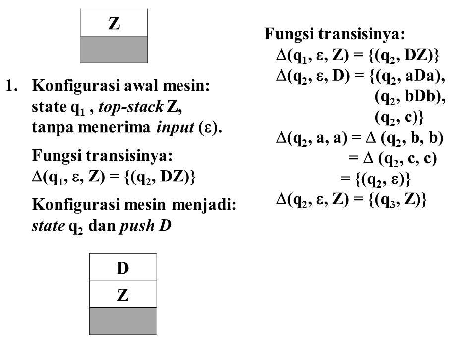 Z D Z Fungsi transisinya: (q1, , Z) = {(q2, DZ)}