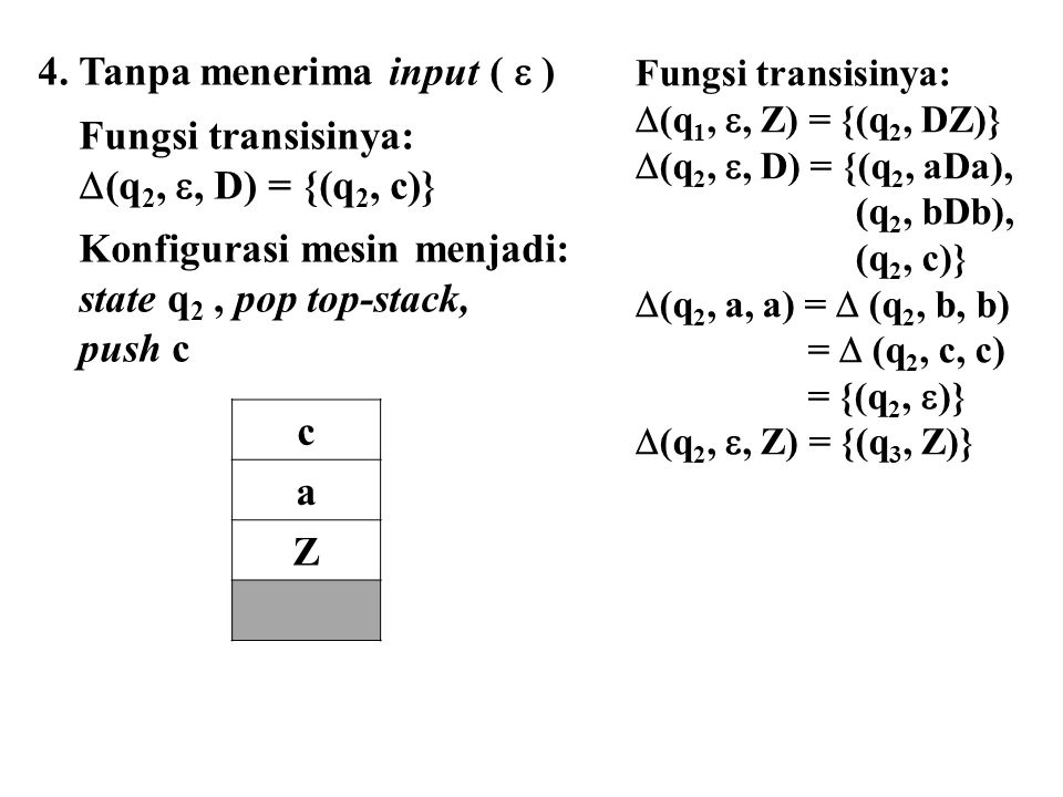 4. Tanpa menerima input (  ) Fungsi transisinya: