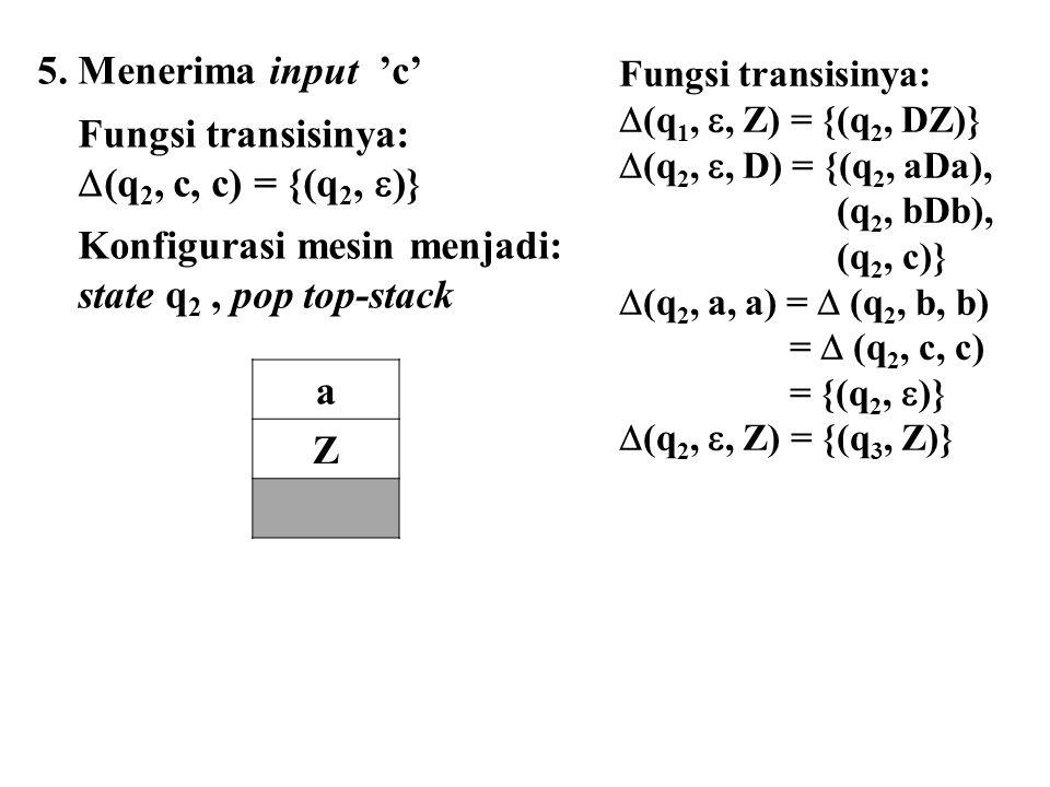 Konfigurasi mesin menjadi: state q2 , pop top-stack a Z