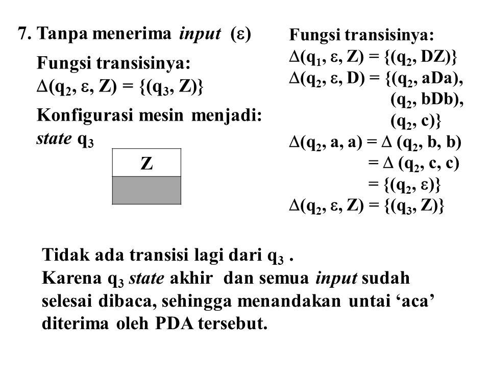 7. Tanpa menerima input () Fungsi transisinya:
