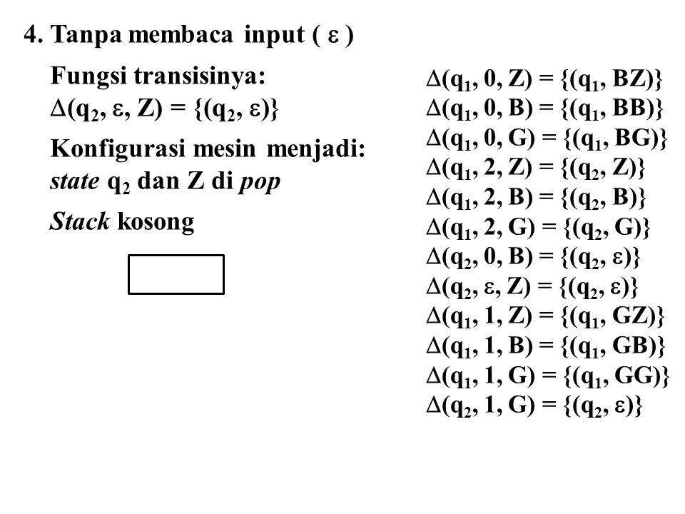 4. Tanpa membaca input (  ) Fungsi transisinya: