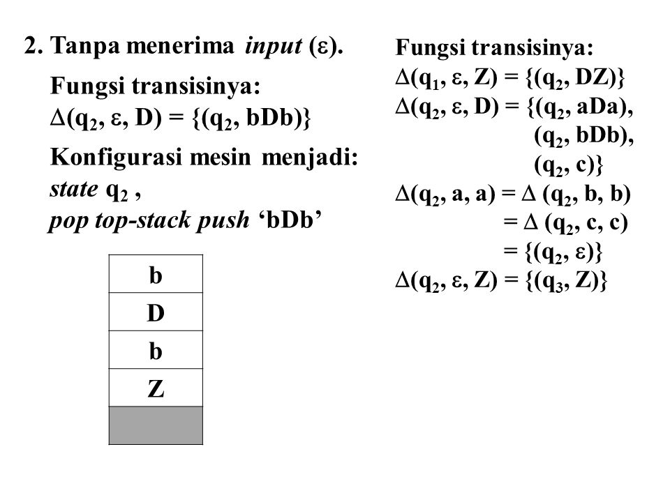 2. Tanpa menerima input (). Fungsi transisinya: