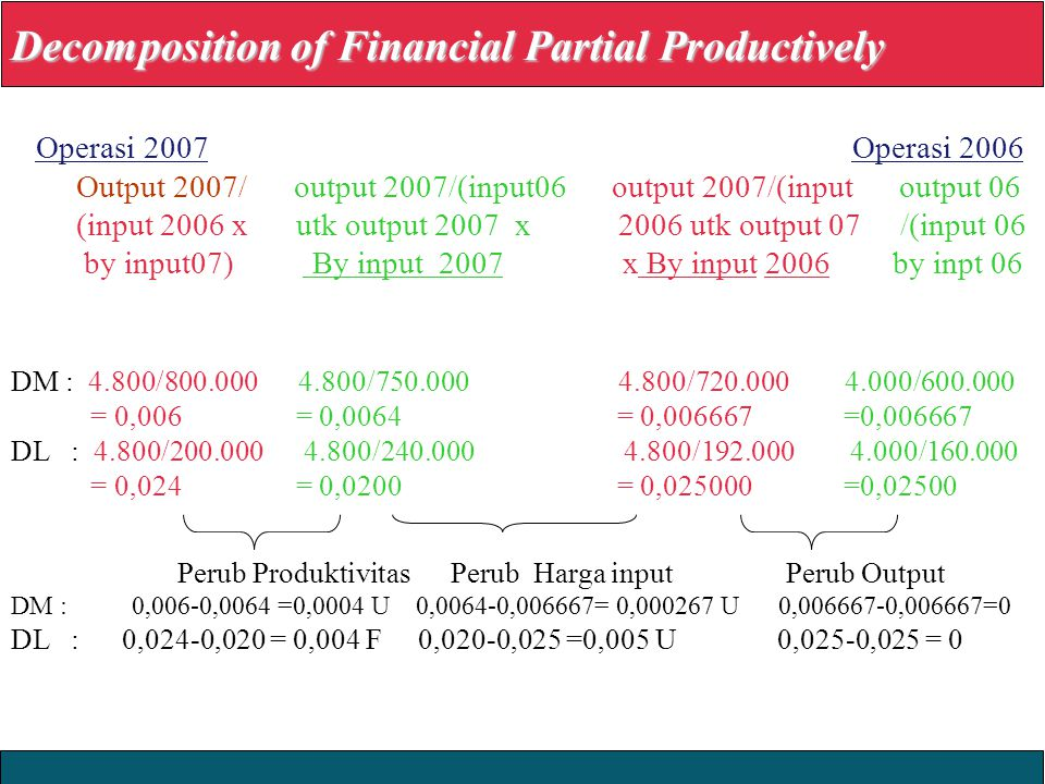 Decomposition of Financial Partial Productively