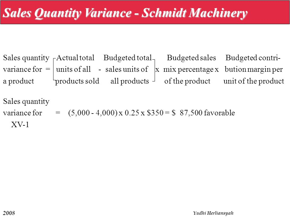 Sales Quantity Variance - Schmidt Machinery