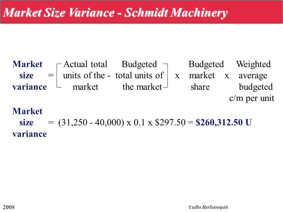 Market Size Variance - Schmidt Machinery