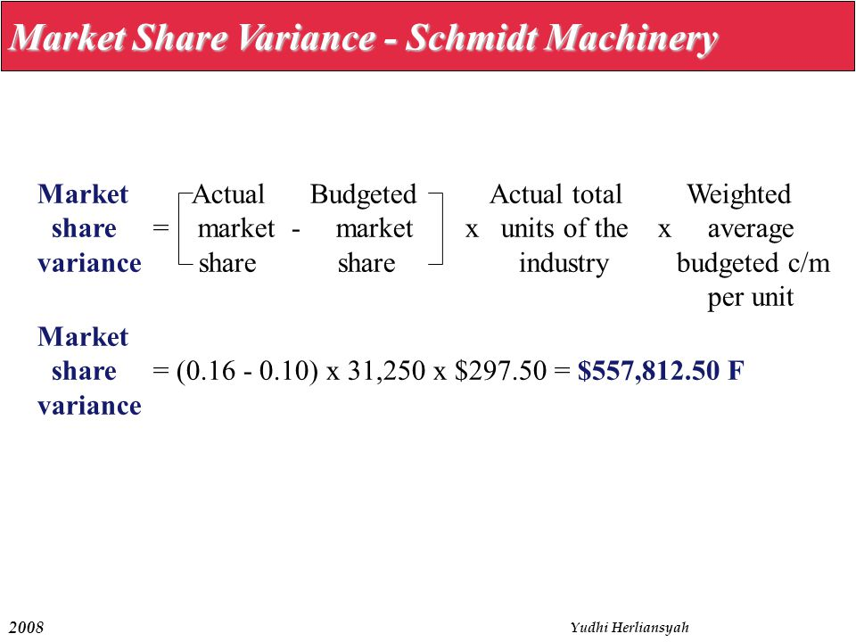 Market Share Variance - Schmidt Machinery