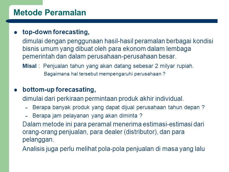 Metode Peramalan top-down forecasting,