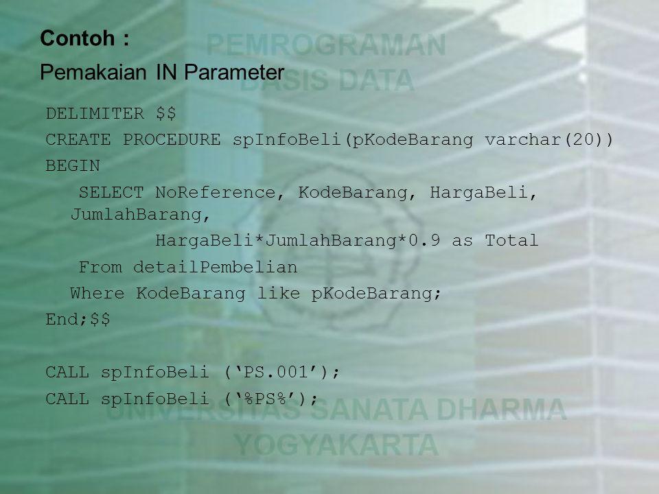 Pemakaian IN Parameter